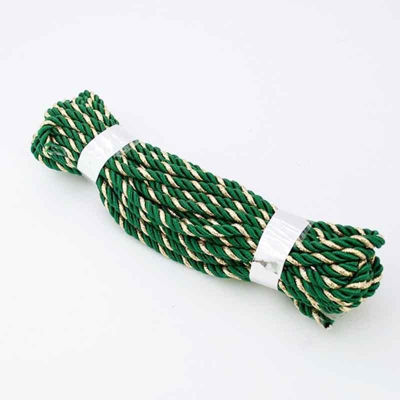 Шнур декоративный с люрексом зеленый с золотом 5мм- 9м