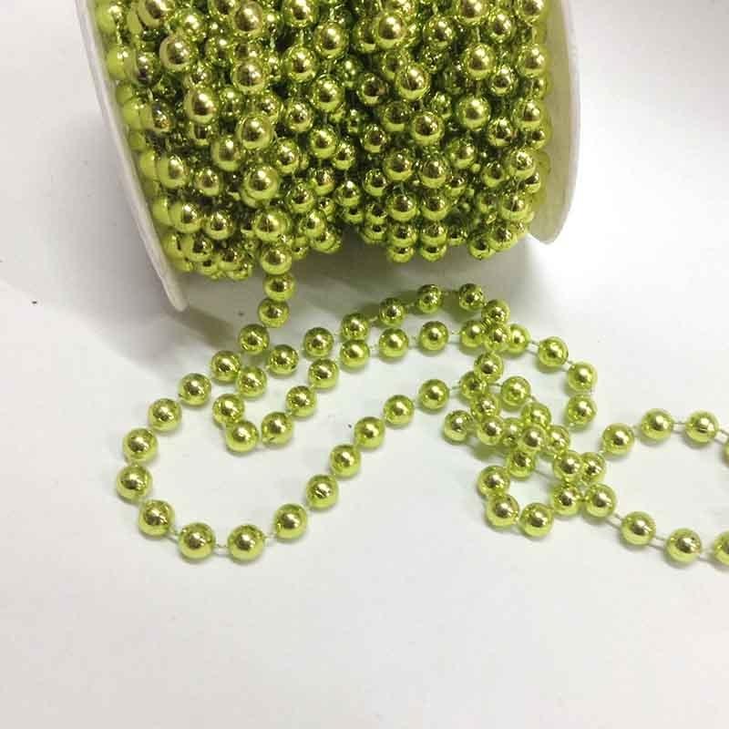 Бусины на нитке зеленое золото 8мм -1м