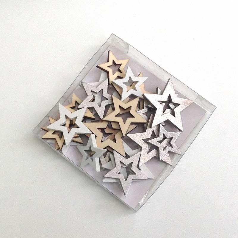 Декор деревянный Звезда 4см. 3.5см и 3см -24шт