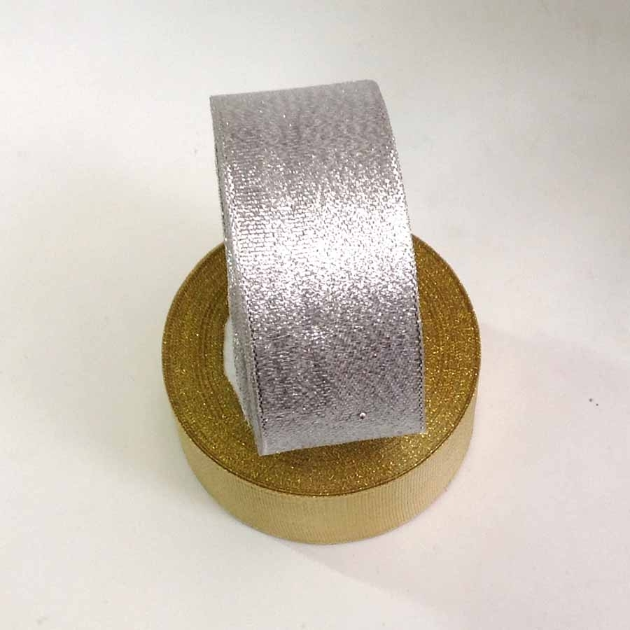Лента парча серебро 4см -23м