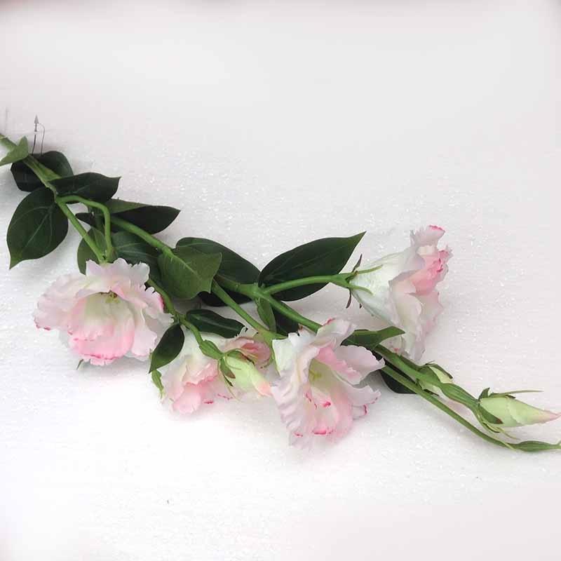 Ветка эустомы бело-розовая 85см