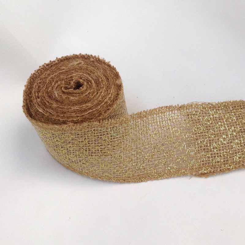 Лента из мешковины с золотым принтом 6см х 450см
