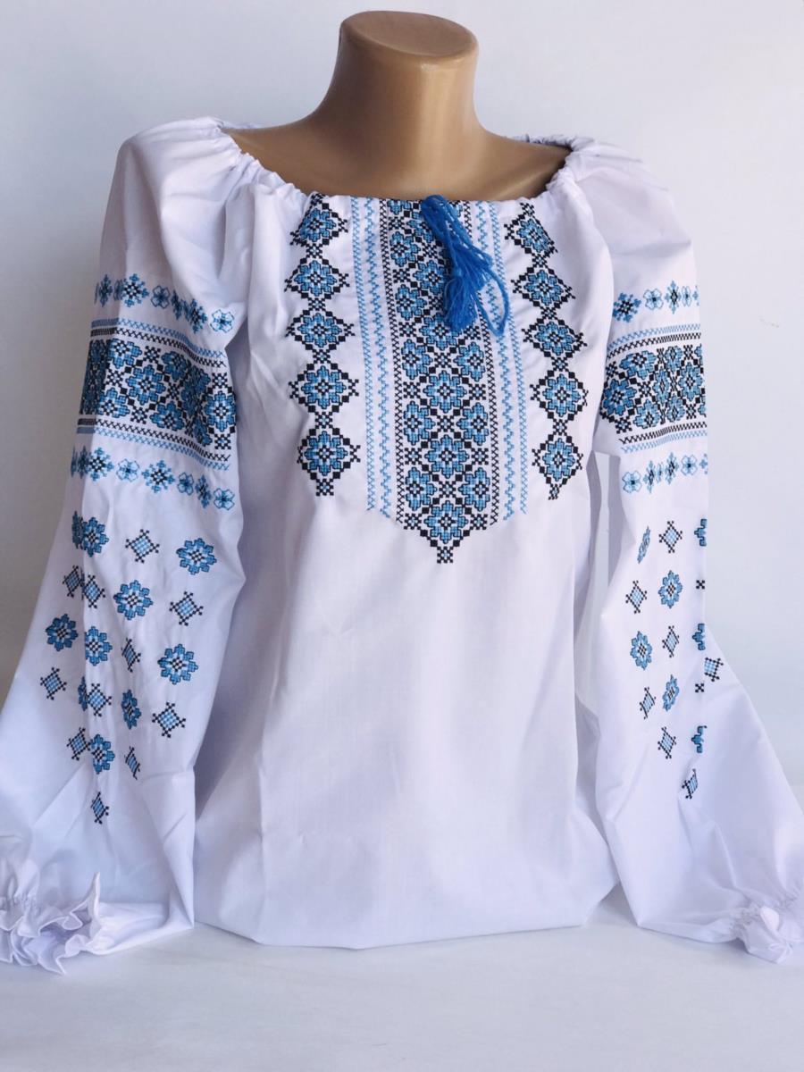 Вишиванка орнамент з голубою вишивкою