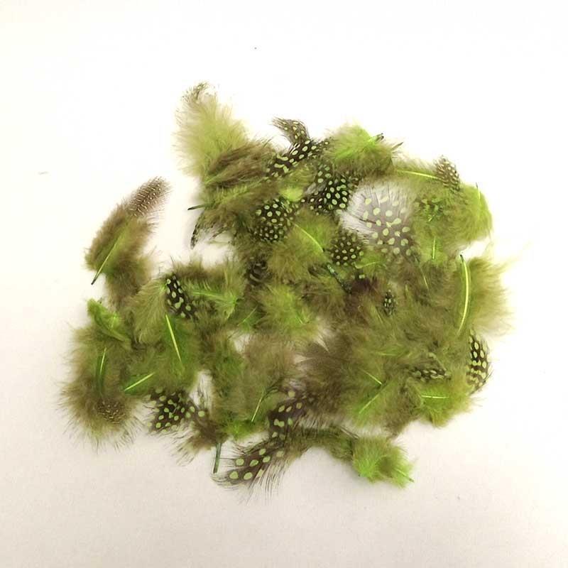 Перья цесарки 8-10см оливково-зеленые
