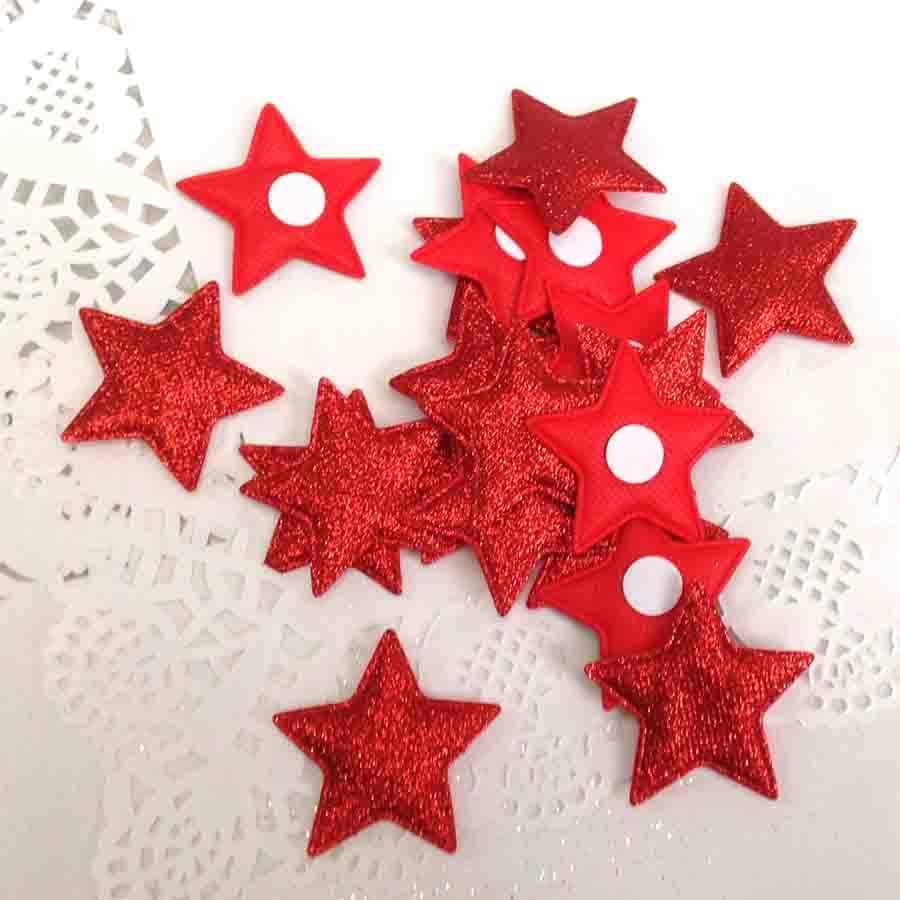 Набор объемных звезд из ткани с блеском красные