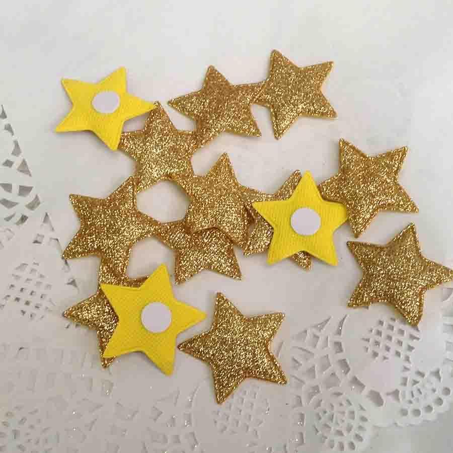 Набор объемных звезд из ткани с блеском красные - Изображение 2