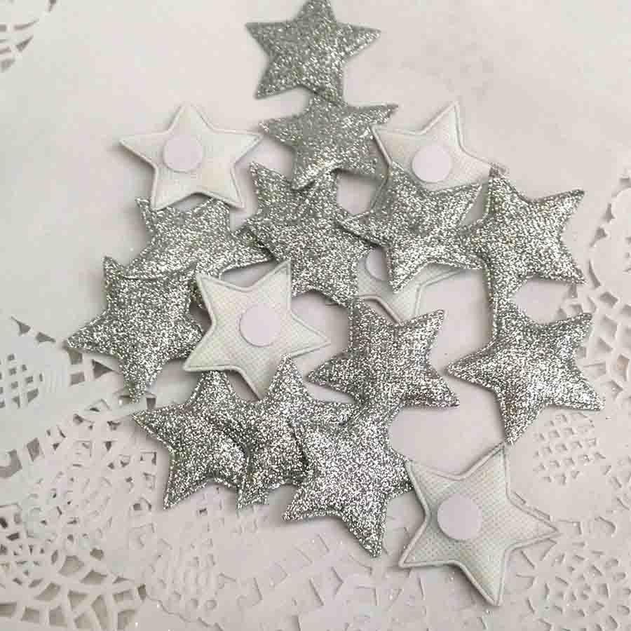Набор объемных звезд из ткани с блеском красные - Изображение 3