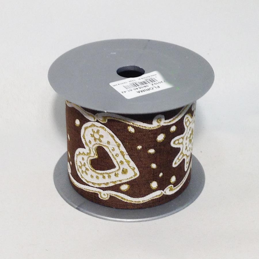 Лента новогодняя с принтом коричневая 8см -5м