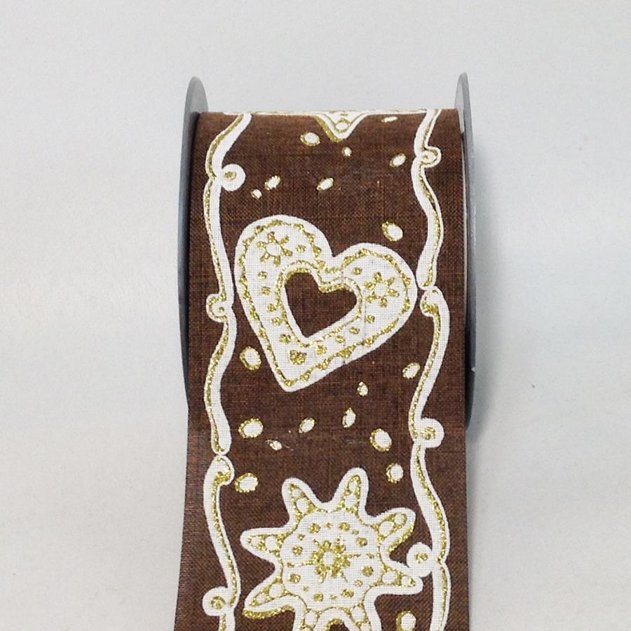 Лента новогодняя с принтом коричневая 8см -5м - Изображение 2