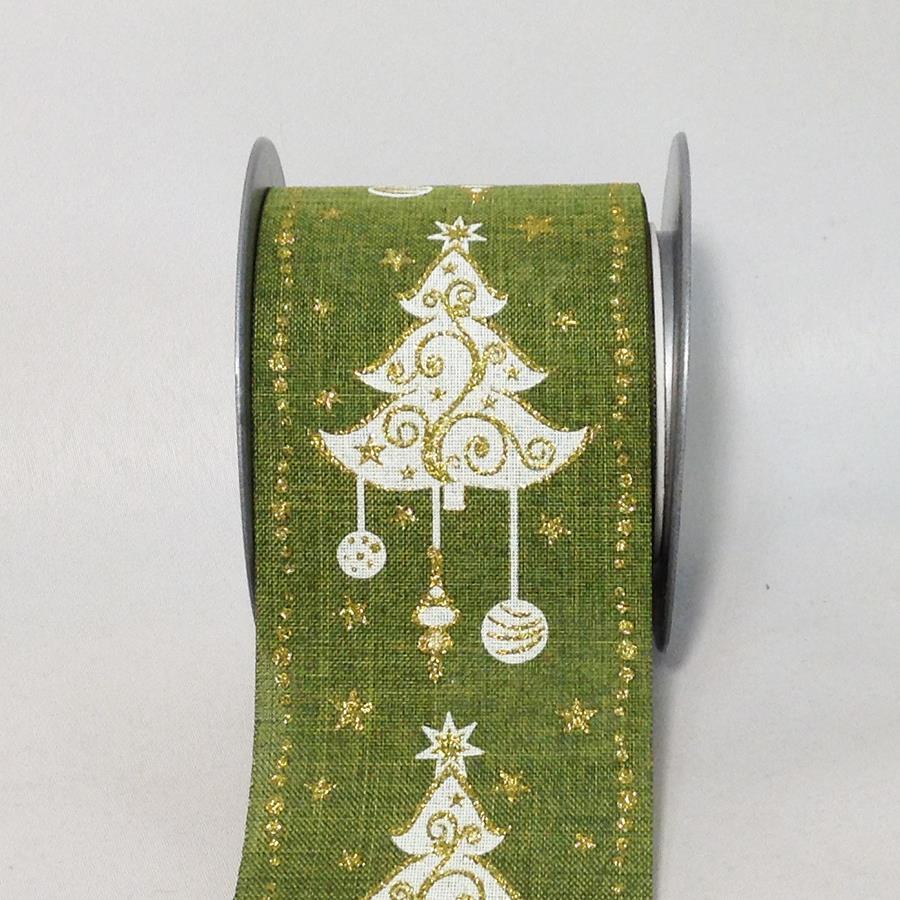 Лента новогодняя с принтом зеленая 8см -5м - Изображение 2