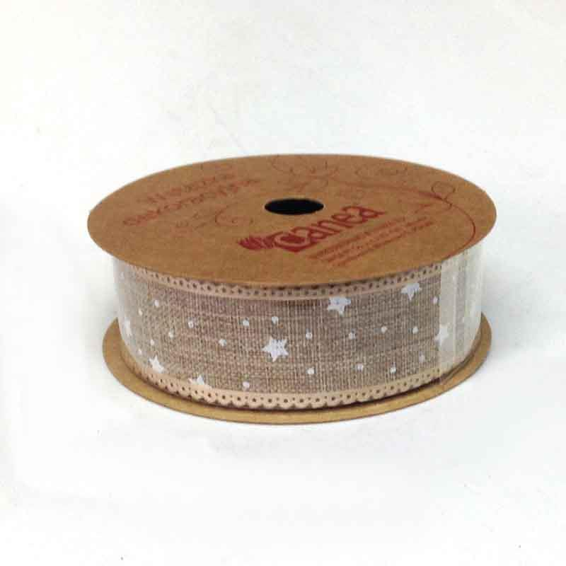 Лента тканевая новогодняя с принтом 2,5см - 5м