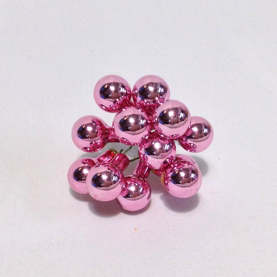 Шарики стеклянные в связках 1,5см розовые глянцевые - 12шт