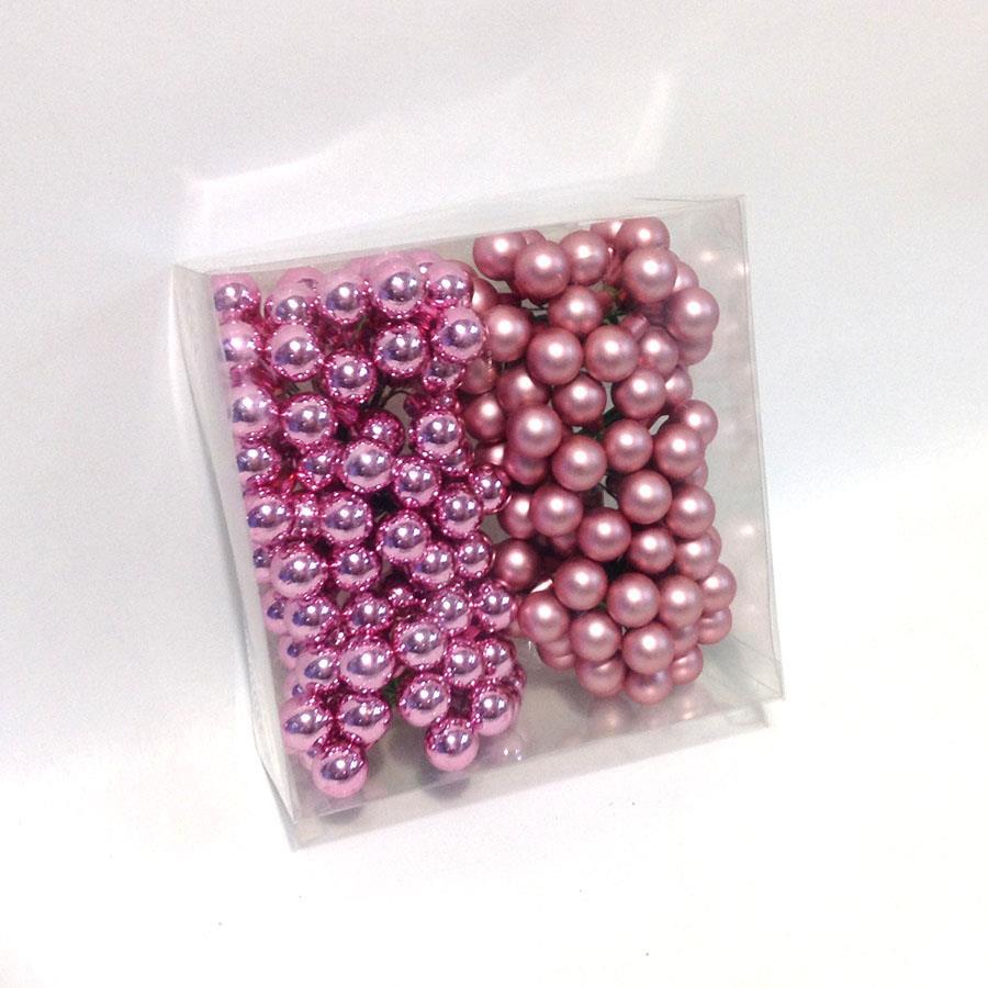 Шарики стеклянные в связках 1,5см розовые глянцевые - 12шт - Изображение 2