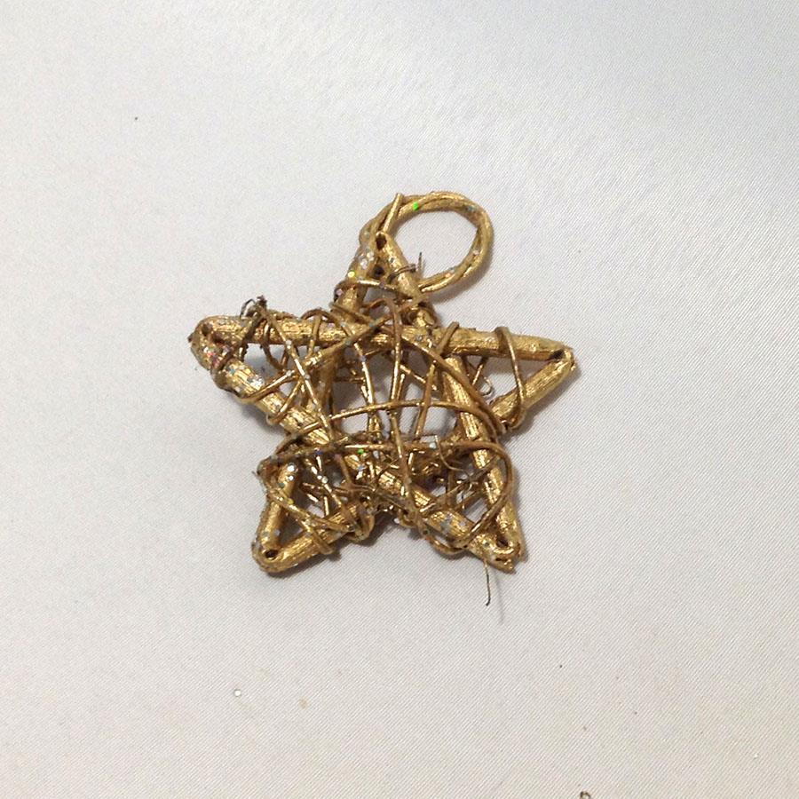 Звезда из лозы с колечком 9см - упаковка 10шт - Изображение 2