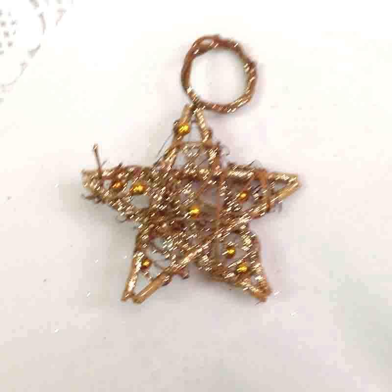 Звезда из лозы с бусинками 9см