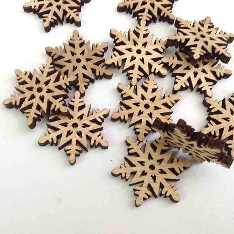 Снежинки деревянные 4см - 12шт - Изображение 2