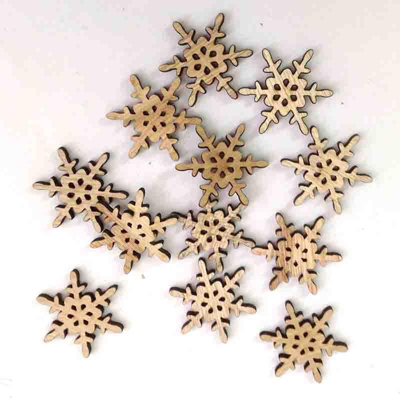 Снежинки деревянные 4см - 12шт