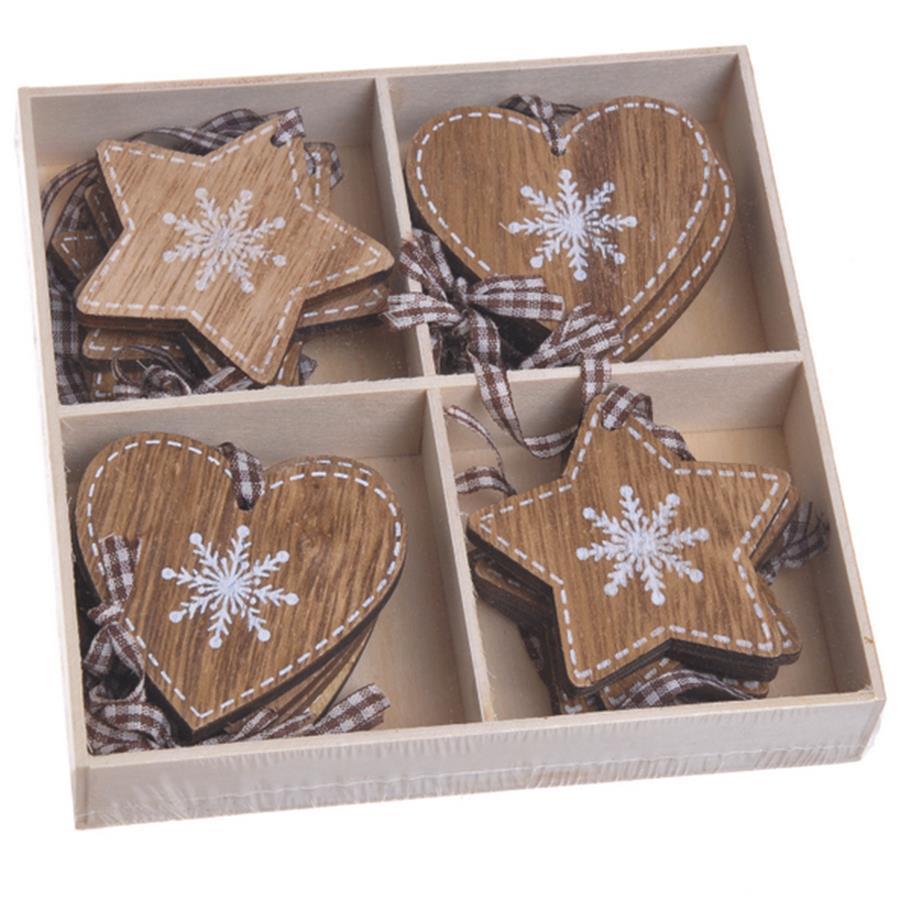 Новогодние деревянные подвески микс 5.5-6см набор 16шт