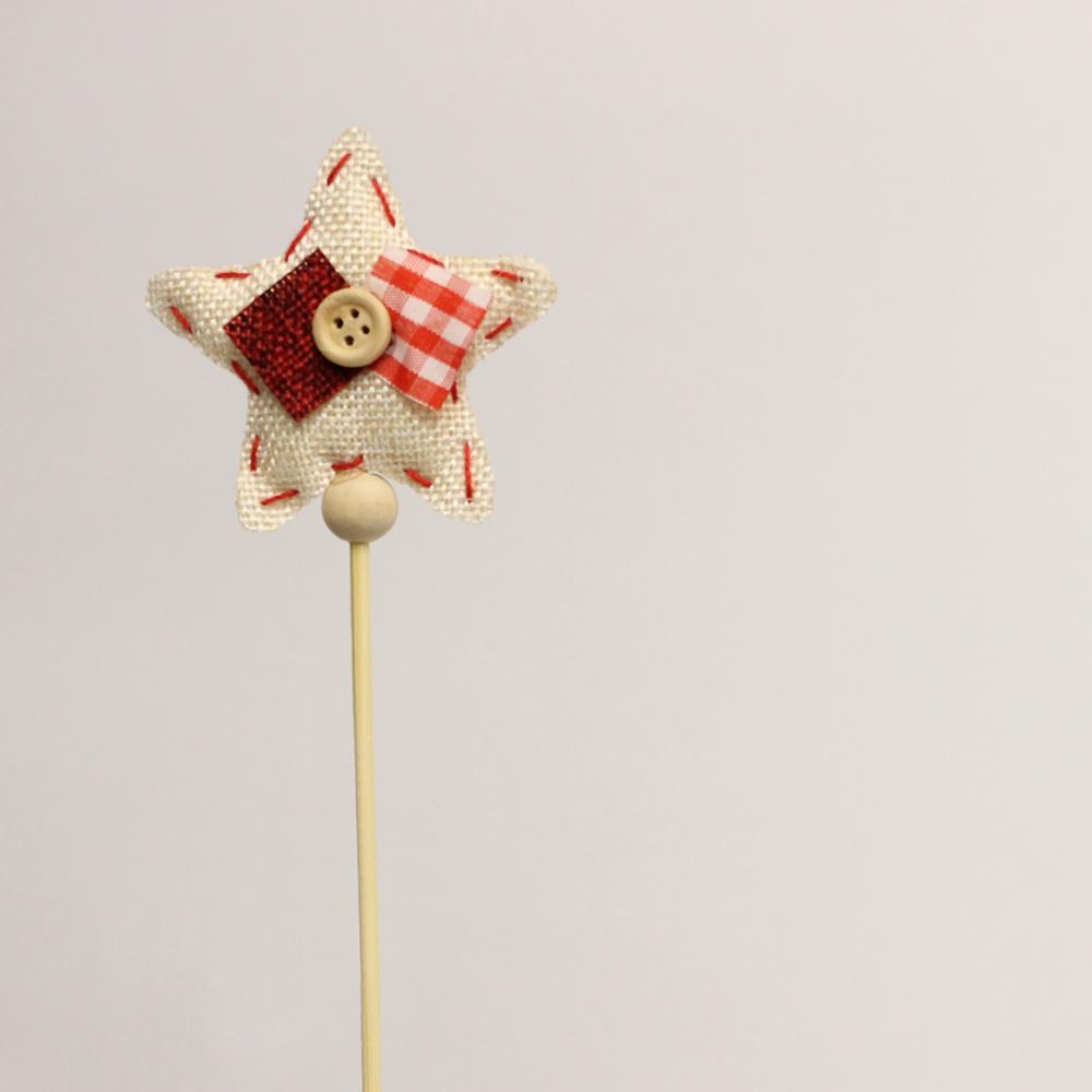 Декор Звезда с бантиком 6,5см