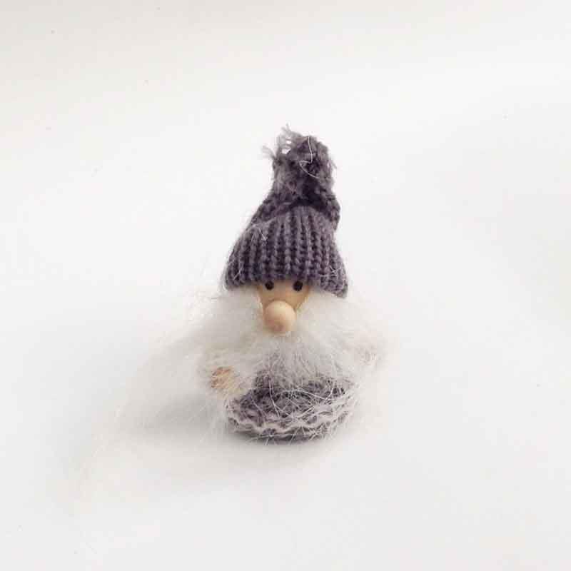 Игрушка - подвеска Дед Мороз в сером 8см