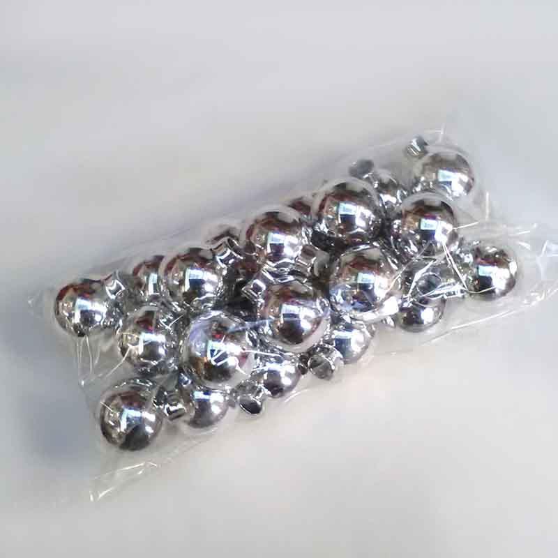 Шарики стеклянные 2,5см серебряные глянцевые - 24шт
