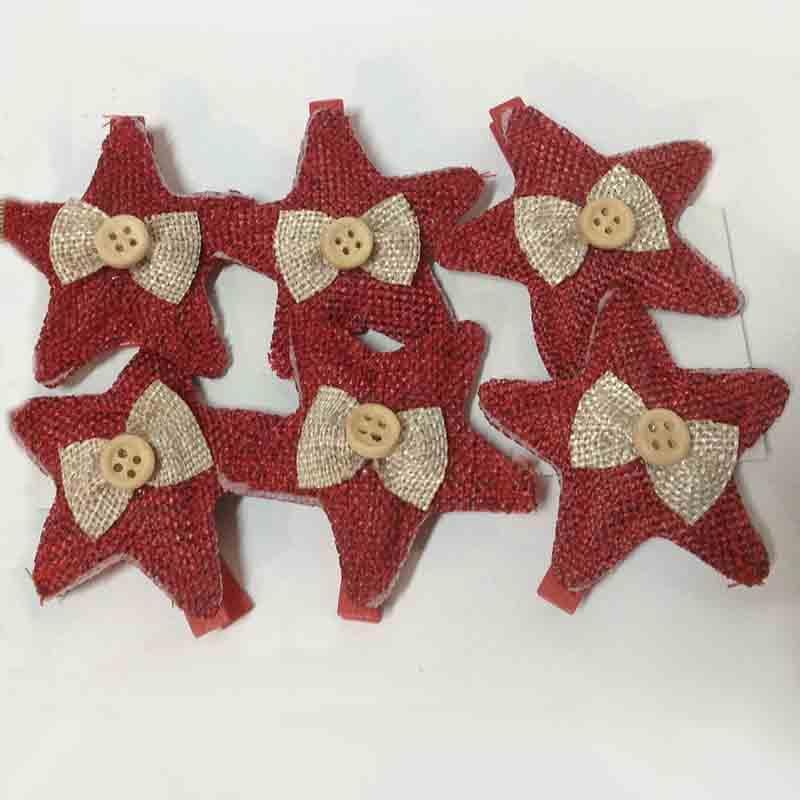 Декор из ткани Звезда 4,5см - 6шт