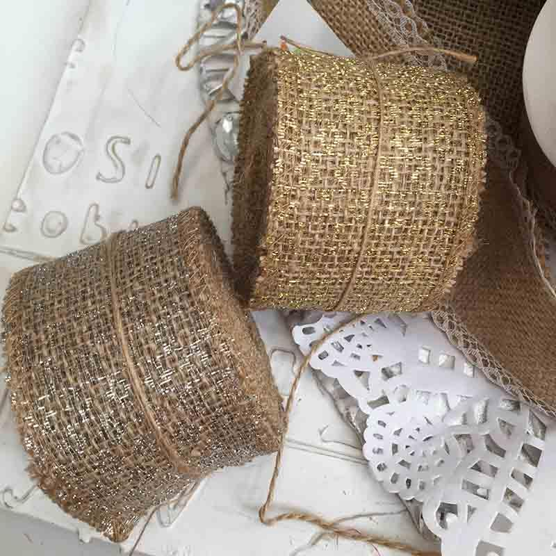 лента из мешковины с золотым и серебряным принтом