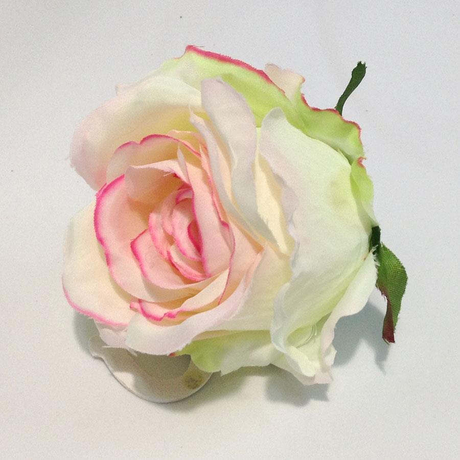 Головка розы КАРДИНАЛ молочная с розовым - 6шт - Изображение 2