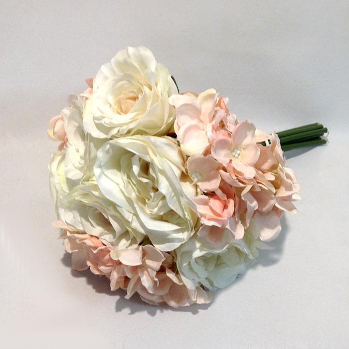 Букет роза +роза английская+гортензия молочно-пудровый - Изображение 2